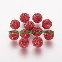Piros Színű Nyaklánc Karkötő Ékszer Dísz Polymer Polimer Shamballa Strassz Kövekkel 10mm