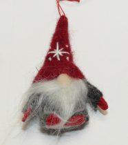 Piros Sapkás Manó Karácsonyfadísz 9cm