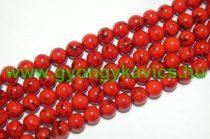 Piros Szintetikus Gyöngy Valódi Kagyló Darabokkal Gyöngyfüzér 8mm
