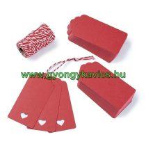 Piros Szíves Árazócimke Üdvözlőkártya 95x45mm