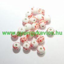 Piros Virágos Porcelán Gyöngy 10mm