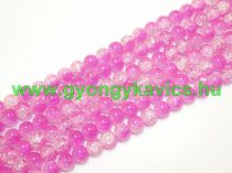 Roppantott Rózsaszín Fehér Üveg Hegyikristály Másolat Gyöngy Gyöngyfüzér 10mm