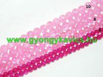 Roppantott Rózsaszín Üveg Hegyikristály Másolat Gyöngy Gyöngyfüzér 8mm