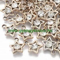 Rózsaarany Színű Műanyag Csillag Medál Akril Strassz Kővel 17x14,5mm