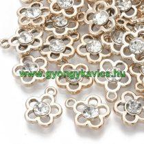 Rózsaarany Színű Műanyag Virág Medál Akril Strassz Kővel 17,5x14,5mm