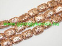 Rózsaarany Téglalap Lávakő Ásványgyöngy 20,5x15,5mm
