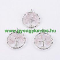 Ezüst Színű Rózsakvarc Életfa Ásvány Medál 29mm