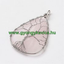 Ezüst Színű Nagyméretű Rózsakvarc Ásvány Életfa Medál 60-64x36-39x9-14mm