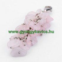Ezüst Színű Rózsakvarc Ásvány Szőlő Medál 50x17mm