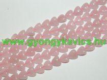 Rózsakvarc Szív Ásványgyöngy 10mm