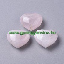 Rózsakvarc Szív (1) Ásvány Marokkő 25-26x25x14-15mm