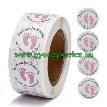 Rózsaszín Babatalp (20) Matrica Kerek 25mm (500db)