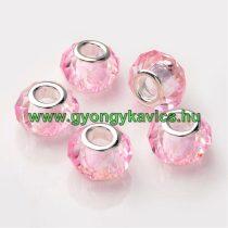 Rózsaszín Ezüst Színű Fazettált Üveg Charm Nyaklánc Karkötő Ékszer Dísz Köztes 14x10mm
