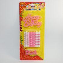Rózsaszín Fehér Születésnapi Tortagyertya 8cm 10db