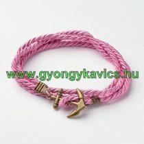 Rózsaszín Fonott Duplasoros Kord Bronz Horgony Karkötő