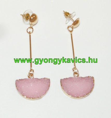 Rózsaszín Kristálymintás Műgyanta Fülbevaló