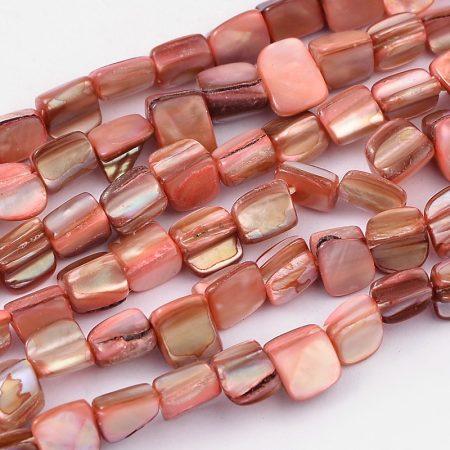 Rózsaszín Kagyló Gyöngy Gyöngyfüzér 8x8x5mm