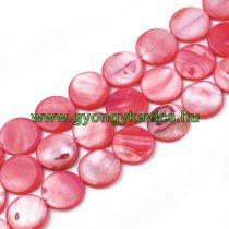 Rózsaszín Lapos Kerek Kagyló Gyöngy Gyöngyfüzér 15x3mm