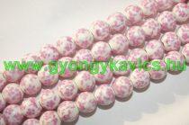 Rózsaszín Virágos Porcelán Gyöngyfüzér 10mm
