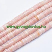 Rózsaszín Opál Korong Ásványgyöngy 8x3mm