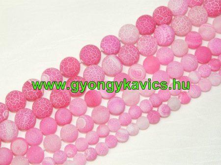Rózsaszín Pink Tűz Achát Ásványgyöngy Gyöngyfüzér 8mm
