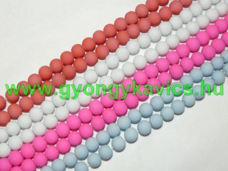 Rózsaszín Pink Színű Festett Üveggyöngy Gyöngyfüzér 8mm