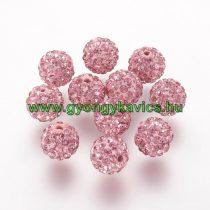 Rózsaszín Színű Nyaklánc Karkötő Ékszer Dísz Polymer Polimer Shamballa Strassz Kövekkel 10mm