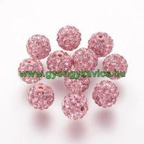 Rózsaszín Színű FÜLBEVALÓ ALAP (félig átfúrt) Ékszer Dísz Polymer Polimer Shamballa Strassz Kövekkel 8mm