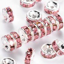 Ezüst Színű Nyaklánc Karkötő Ékszer Dísz Rózsaszín Strassz Kövekkel 8mm