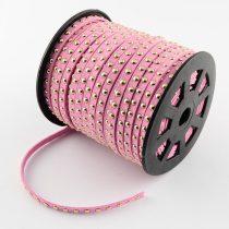 Rózsaszín Ezüst Szegecses Műbőr Velúr Szál 6mm 1m
