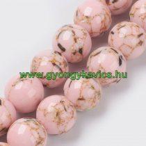 Rózsaszín Szintetikus Gyöngy Valódi Kagyló Darabokkal 6mm