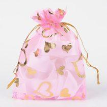 Rózsaszín Szíves Organza Díszzacskó Dísztasak 10x12cm