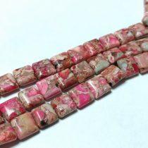 Rózsaszín Tengeri Jáspis Regalit Kocka Ásványgyöngy 10x10x4mm