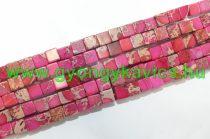 Rózsaszín Tengeri Jáspis Regalit Kocka Ásványgyöngy Gyöngyfüzér 6x6mm