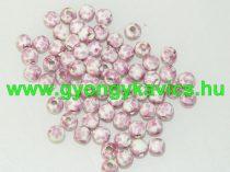 Rózsaszín Virágos Porcelán Gyöngy 6mm