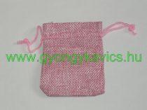 Rózsaszín Zsákvászon Jellegű Díszzacskó Dísztasak 9x7cm