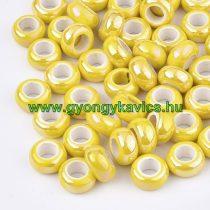 Sárga Gyöngyház Porcelán Charm Köztes Gyöngy 12-13x6,5mm
