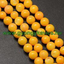 Sárga Színű Kagyló Gyöngy Gyöngyfüzér 6mm