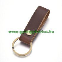 Sötét Barna Bőr Bronz Színű Kulcstartó Karika 91x30mm