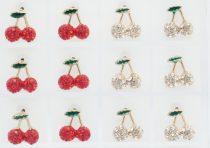 Arany Színű Piros Strasszos Cseresznye Fülbevaló