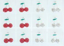 Ezüst Színű Piros Strasszos Cseresznye Fülbevaló