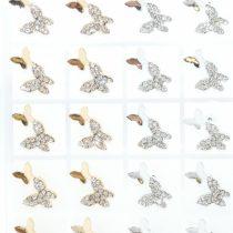 Arany Színű Ezüst Strasszos Lepke Pillangó Fülbevaló