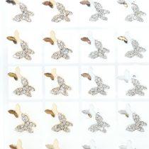 Ezüst Színű Ezüst Strasszos Lepke Pillangó Fülbevaló