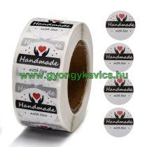 Szeretettel Kézzel Készült Handmade With Love (54) Matrica Kerek 25mm (25db)