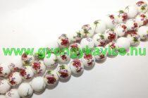 Bordó Virágos (szines) Porcelán Gyöngy 10mm