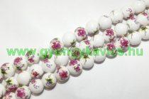 Rózsaszín Virágos (szines) Porcelán Gyöngy 10mm