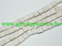 Szintetikus Fehér Kocka Lávakő Ásványgyöngy 8x8mm