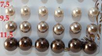 Bronz Színű Szintetikus Kagyló Gyöngy Fülbevaló Ezüst Színű Fém Pálcán 7,5mm