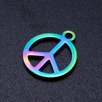 Szivárványos Színű Nemesacél Békejel Peace Medál 14x12mm