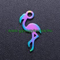 Szivárványos Flamingó Nemesacél Medál 15x7mm